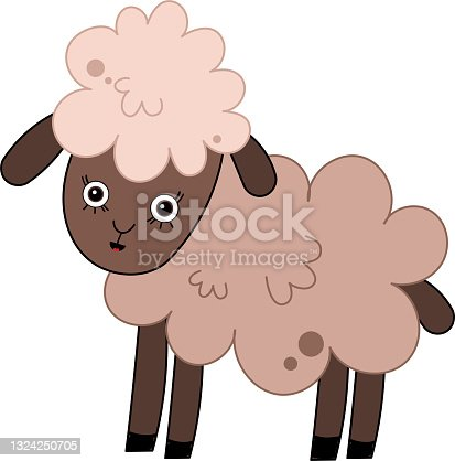 istock Cute adorable sheep lamb character in cartoon nursery style 1324250705