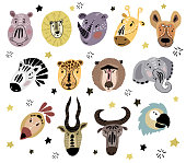 Big collection isolated elements - cute faces of cartoon african animals, on white background, hand drawing plus flat, vector illustration for print, kids clothes, cards, cover or poster