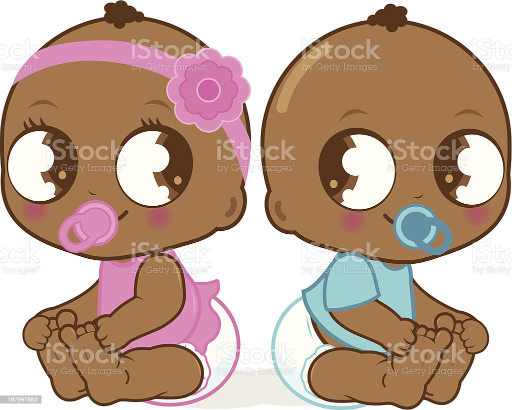 Cute African American baby girl and boy royalty-free cute african american baby girl and boy stock vector art & more images of african ethnicity