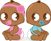 Vector Illustration of  two cute African American babies, a baby girl and a baby boy.