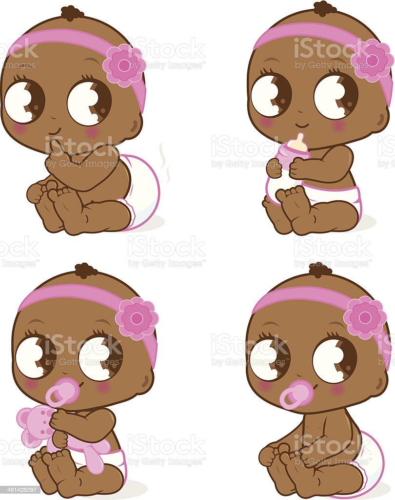 かわいい赤ちゃんの女の子アフリカ系アメリカ人の のイラスト素材