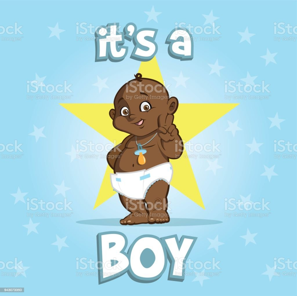 Cute African American Baby Greeting Card It Is A Boy On Star