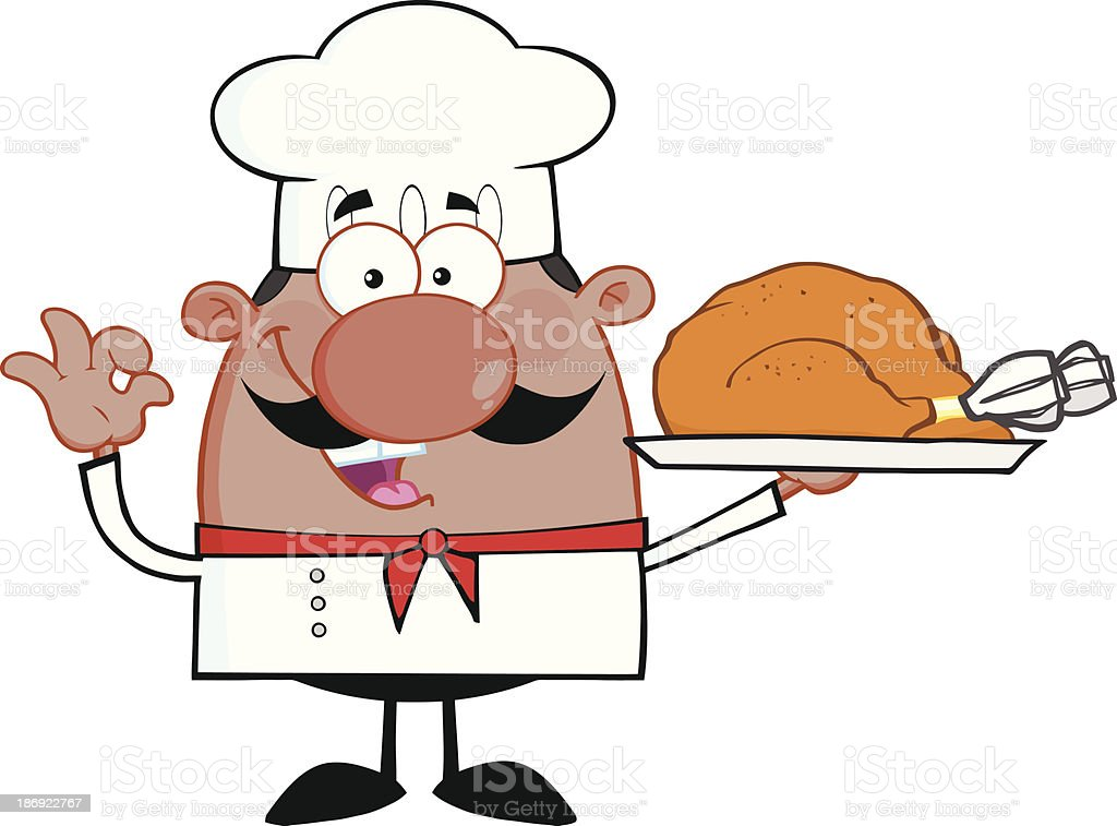 Süße Afrikanische Amerikanische Koch Comicfigur Hält Ganze ...