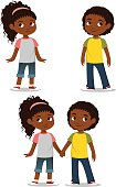 cute African American children in casual clothes