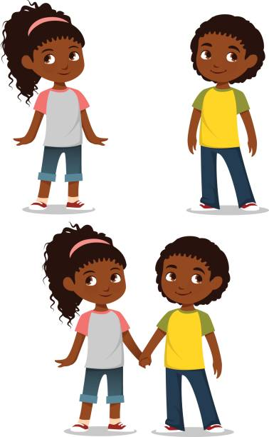 cute African American children in casual clothes vector art illustration