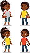 cute African American kids in casual clothes