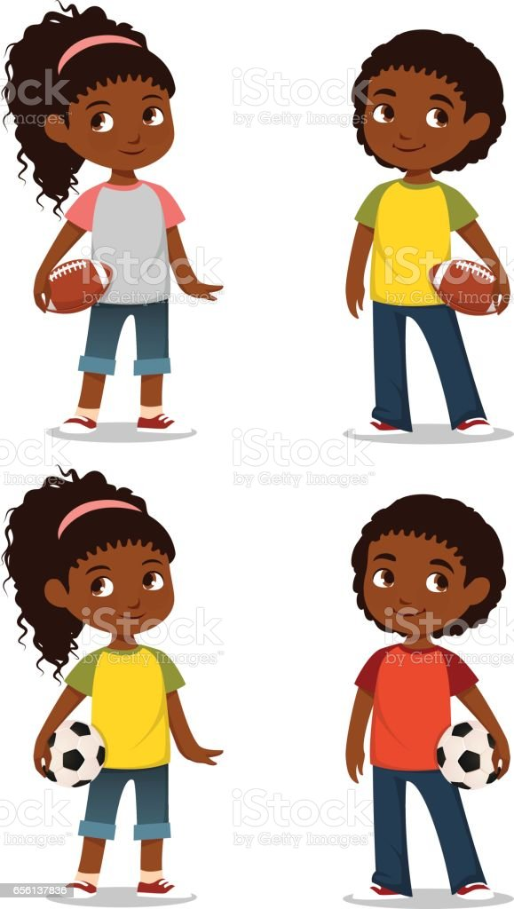 cute African American kids in casual clothes vector art illustration