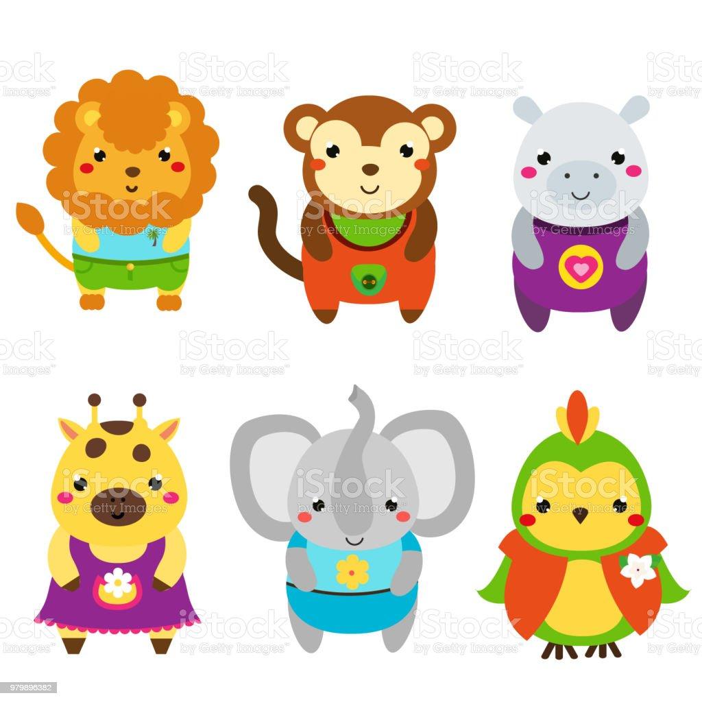 かわいいアフリカの動物漫画かわいい野生動物動物セット