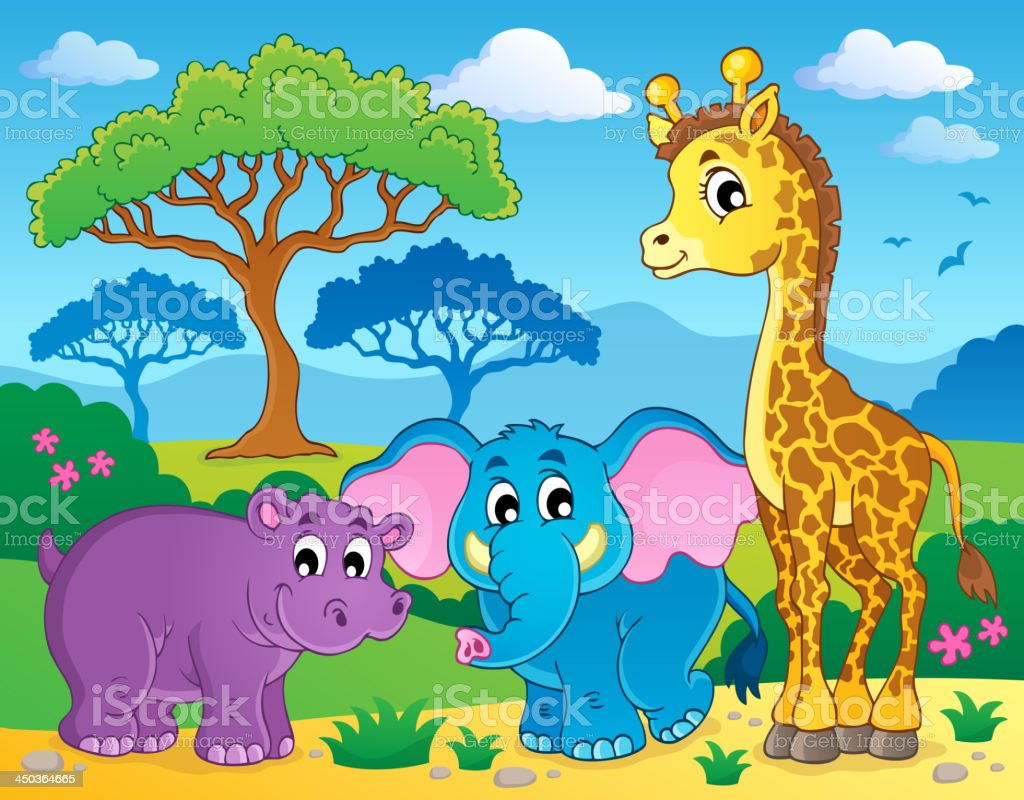 Cute African animals theme image 1 royalty-free stock vector art