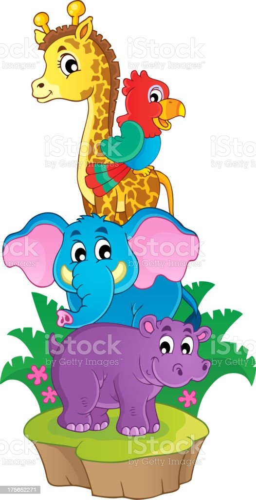 Cute African animals theme image 3 royalty-free stock vector art