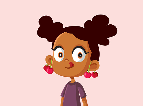 Cute African Girl with Cherries on Her Ears Vector Illustration