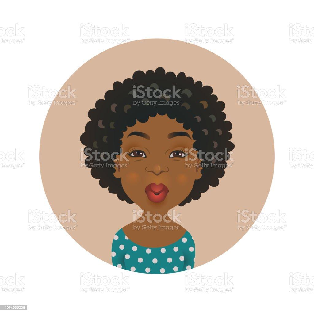 Mignon Afro Américain Avatar Femme De Baiser Expression Du