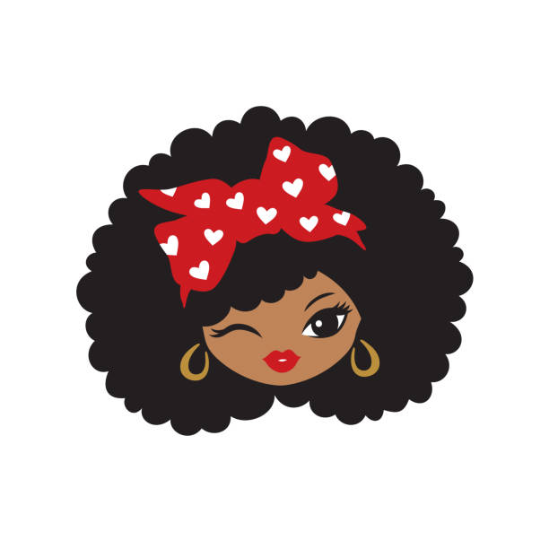 Vector girl afro black African American