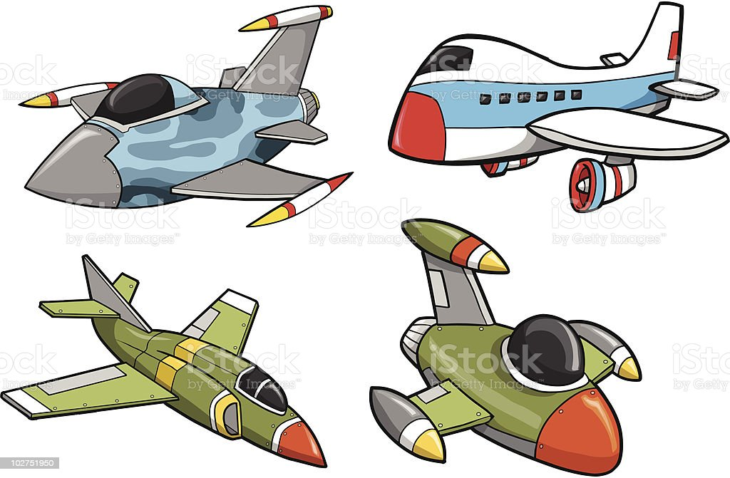 Cute Aircraft Set Stock Illustration - Download Image Now
