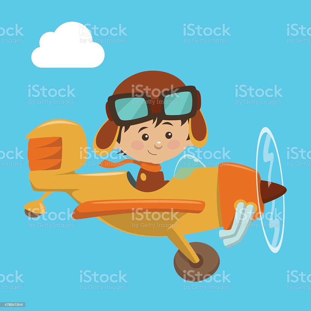 Cute airplane with kid aviator vector art illustration