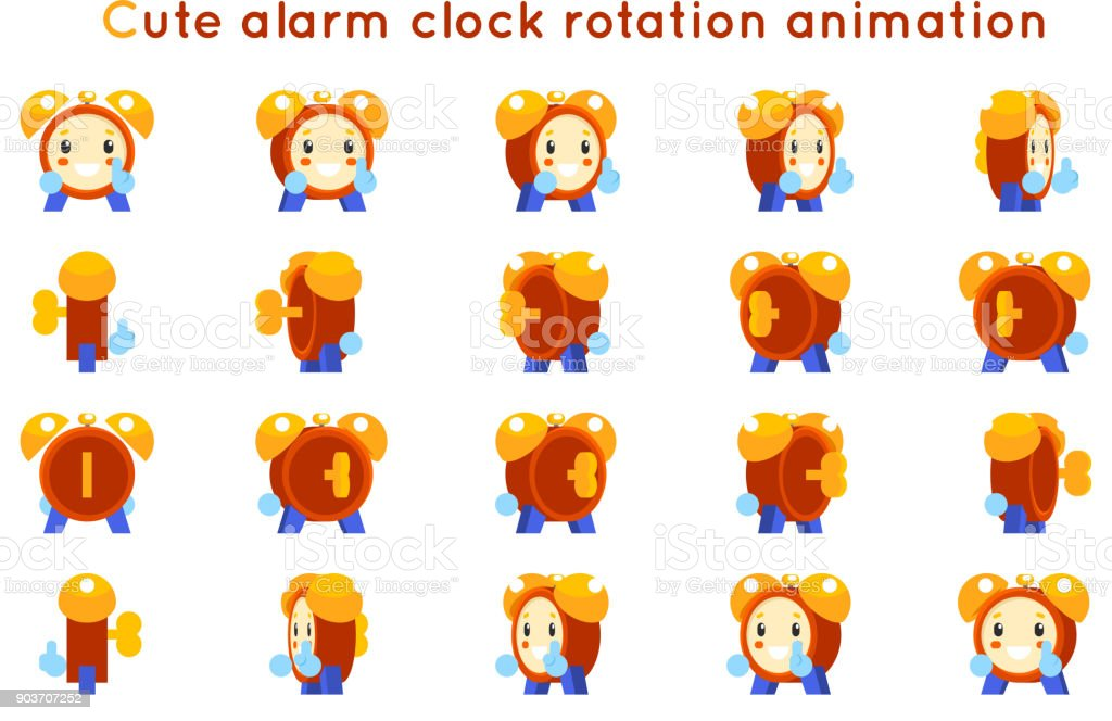 Cute Alarm Clock Child Ticker Kid Character Icons Rotation Animation ...