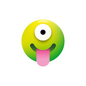 Vector illustration of a cute and colorful alien emoticon