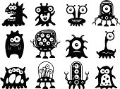 Cute Alien Silhouettes on a white background