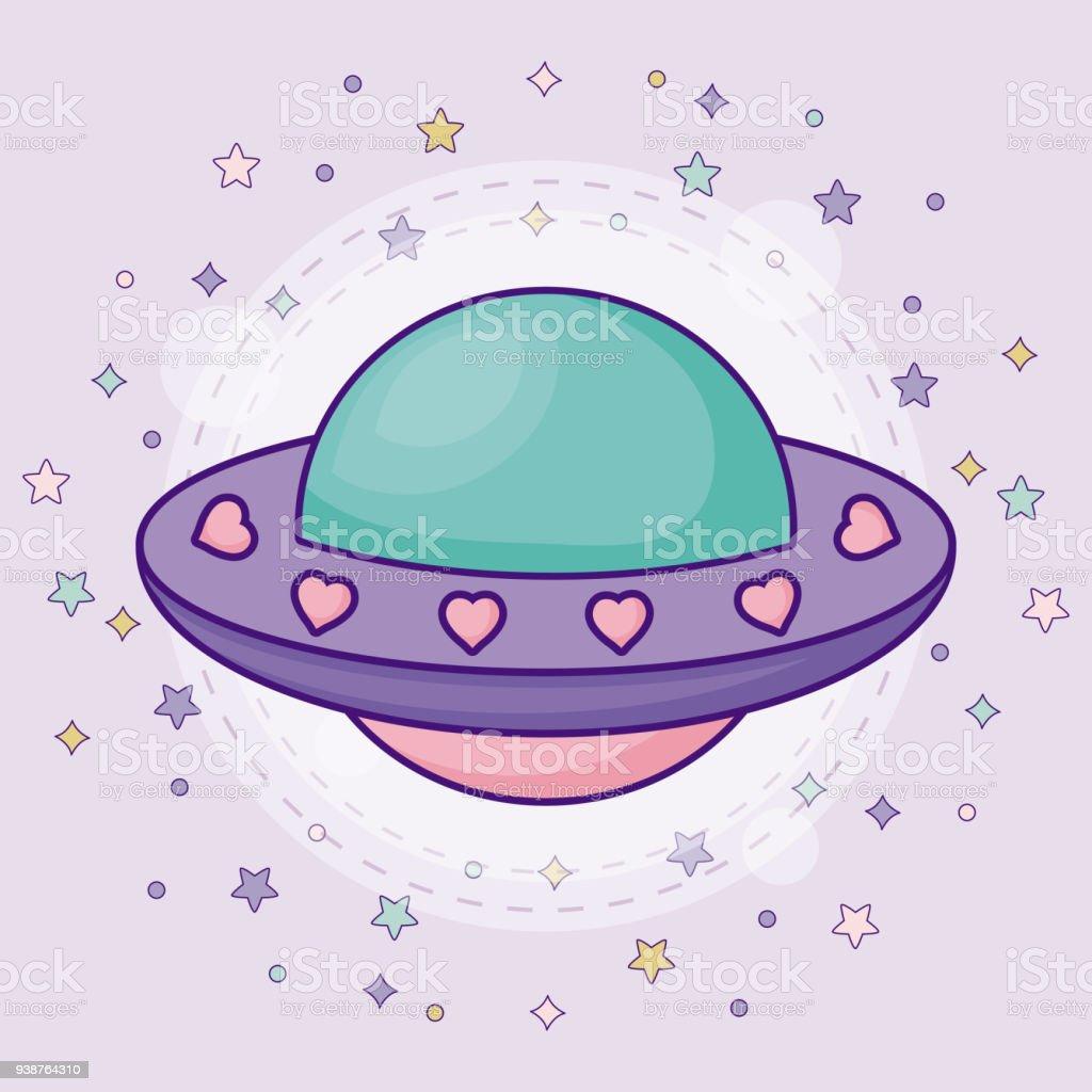 かわいいエイリアン宇宙船 いたずら書きのベクターアート素材や画像を