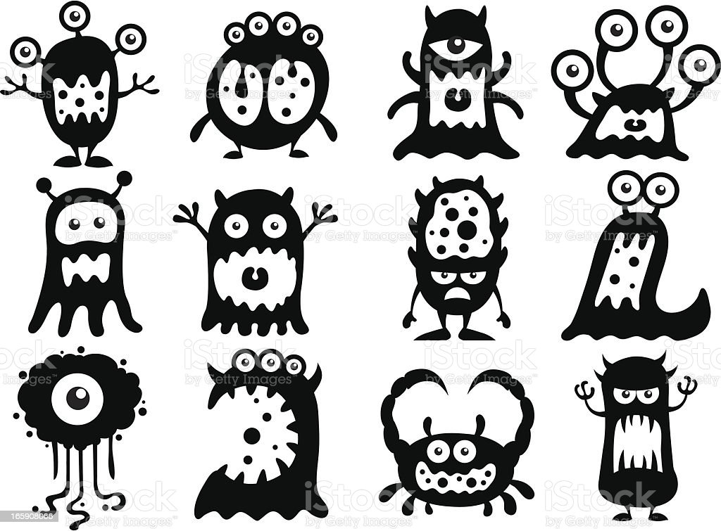 Cute aliens and monsters vector art illustration
