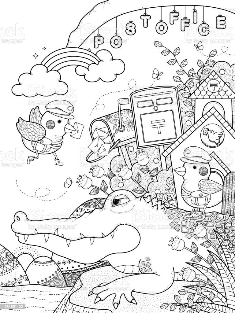 Lindo Adultos Página Para Colorear De Cocodrilo - Arte vectorial de ...