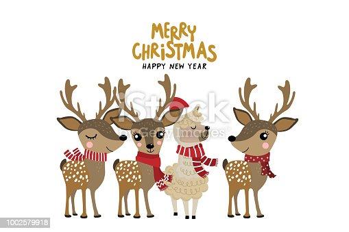 Cute alpaca and deer wear Christmas costume. Animal holiday cartoon character.