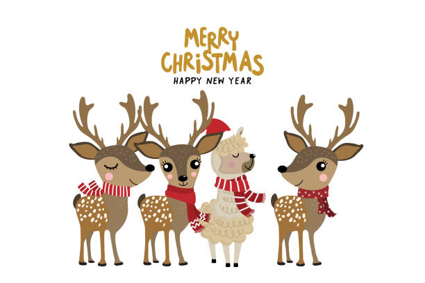 Cute alpaca and deer wear Christmas costume. Animal holiday cartoon character. vector art illustration