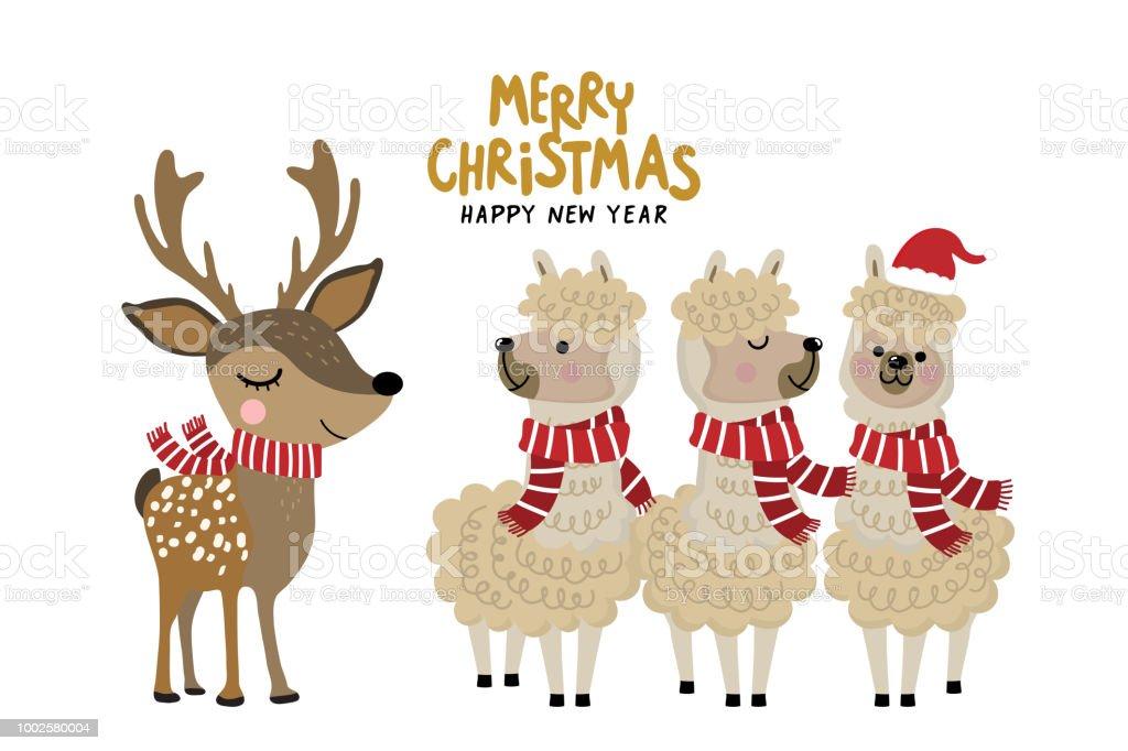 Cerf Et Alpaga Mignon Porte Un Costume De Noel Personnage De