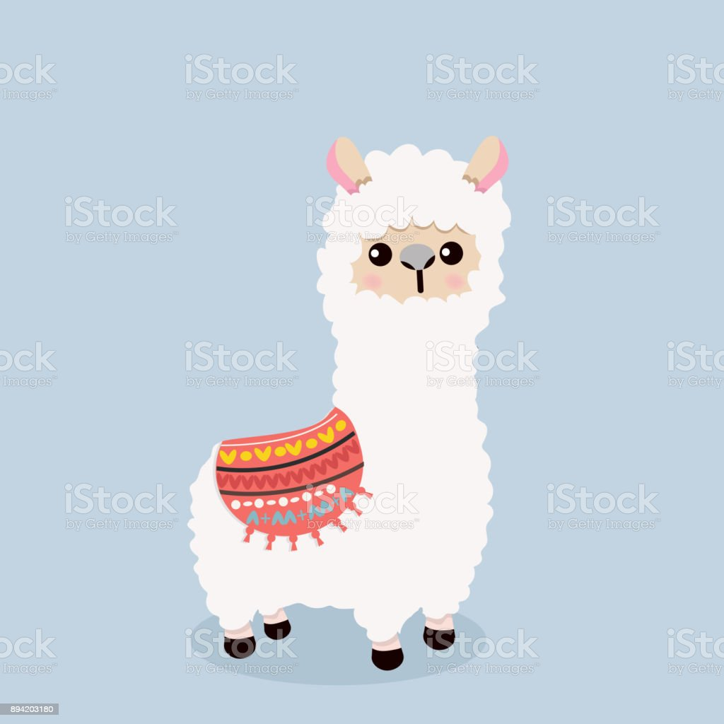 Cute alpaca  fluffy vector art illustration