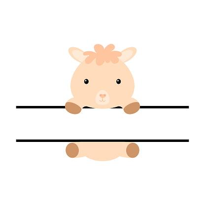 Cute alpaca split monogram. Funny cartoon character for shirt, scrapbooking, print, greeting cards, baby shower, invitation, home decor. Bright colored childish stock vector illustration.