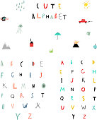 Cute alphabet. Hand Drawn Letters. Learn to read.