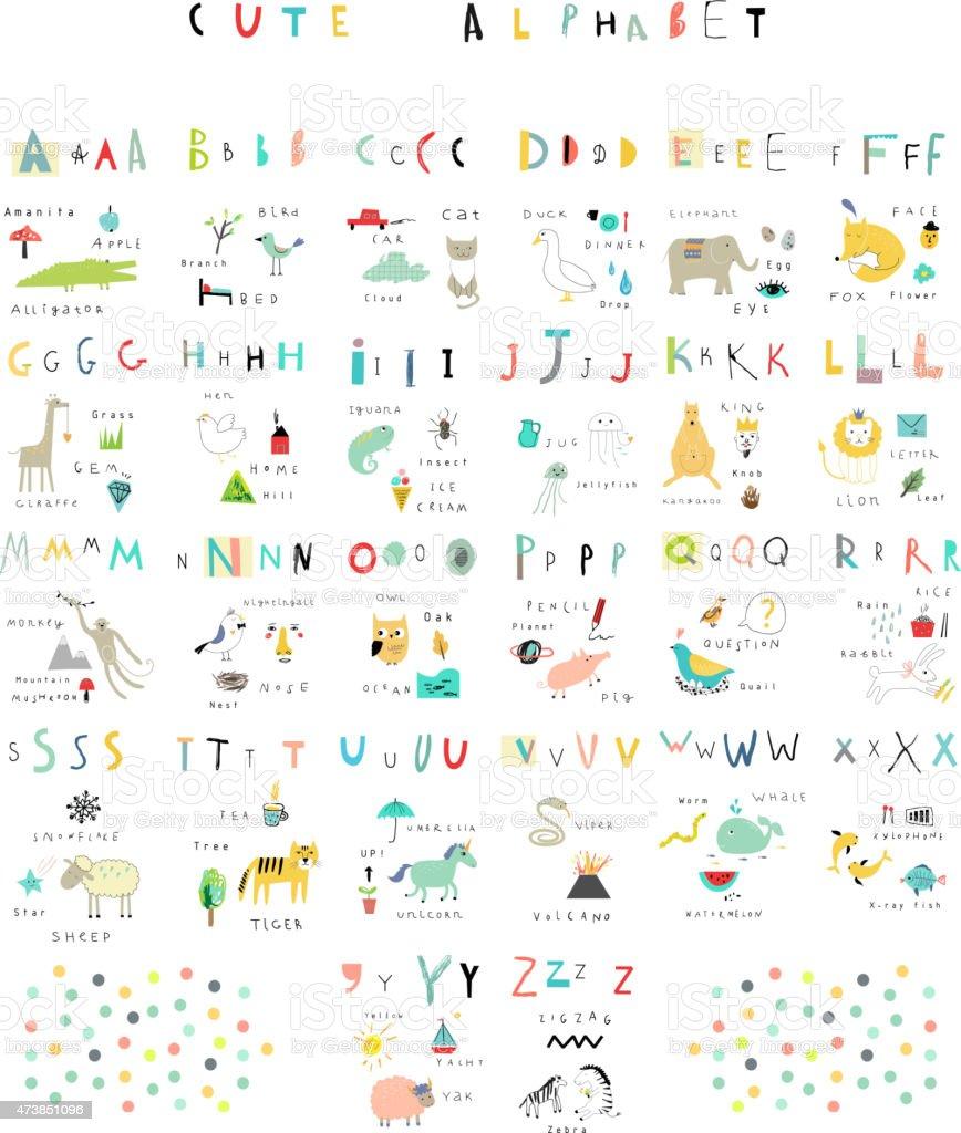 Alfabeto bonito.   Letras e palavras.   Flora, fauna, animais. - ilustração de arte em vetor
