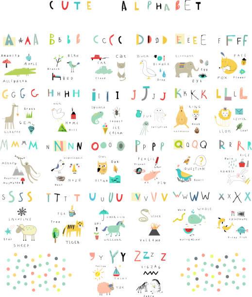 Ładny Alfabet.   Litery i słowa.   Flora i fauna, zwierząt. – artystyczna grafika wektorowa