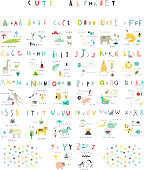 Cute alphabet. Letters and words. Flora, fauna, animals.