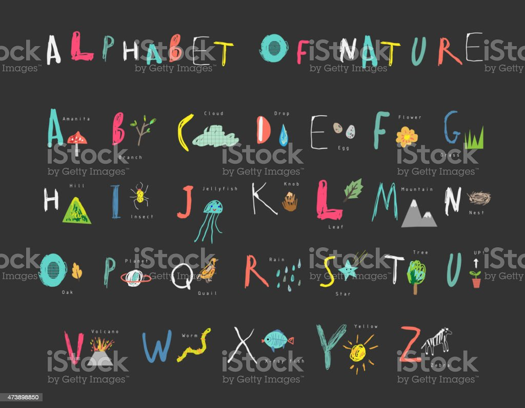 Cute alphabet of Nature. Letters, natural events, flora and fauna. vector art illustration