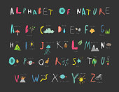 Cute alphabet of Nature. Letters, natural events, flora and fauna.
