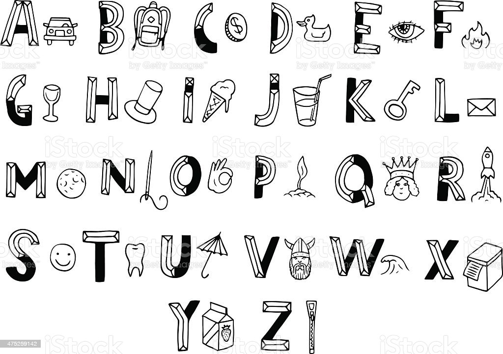 Mignon Alphabet Et Un Objet Different Pour Chaque Lettre Cliparts