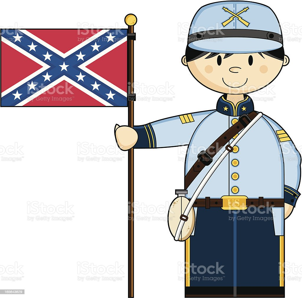 cute american confederate soldier with flag stock vector art more rh istockphoto com confederate clipart