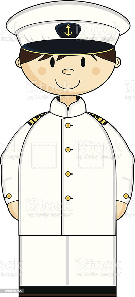 Cute American Naval Officer royalty-free stock vector art