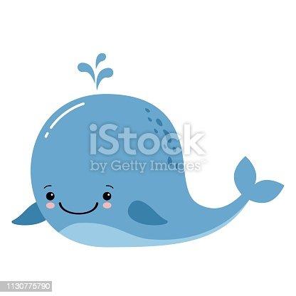 Cute amusing whale, prints image, vector illustration. Kawaii animal