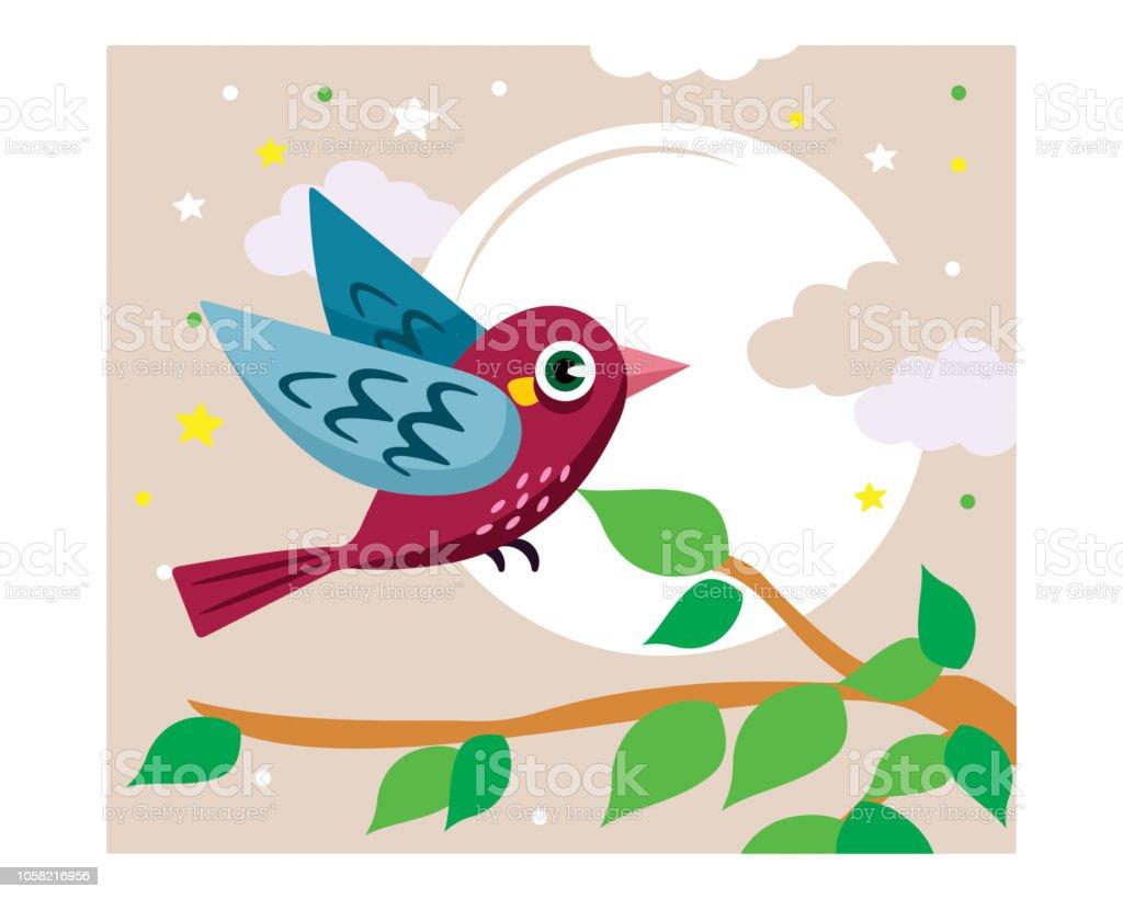 Mignon Et Adorable Petit Oiseau Vole Sur Une Branche Darbre