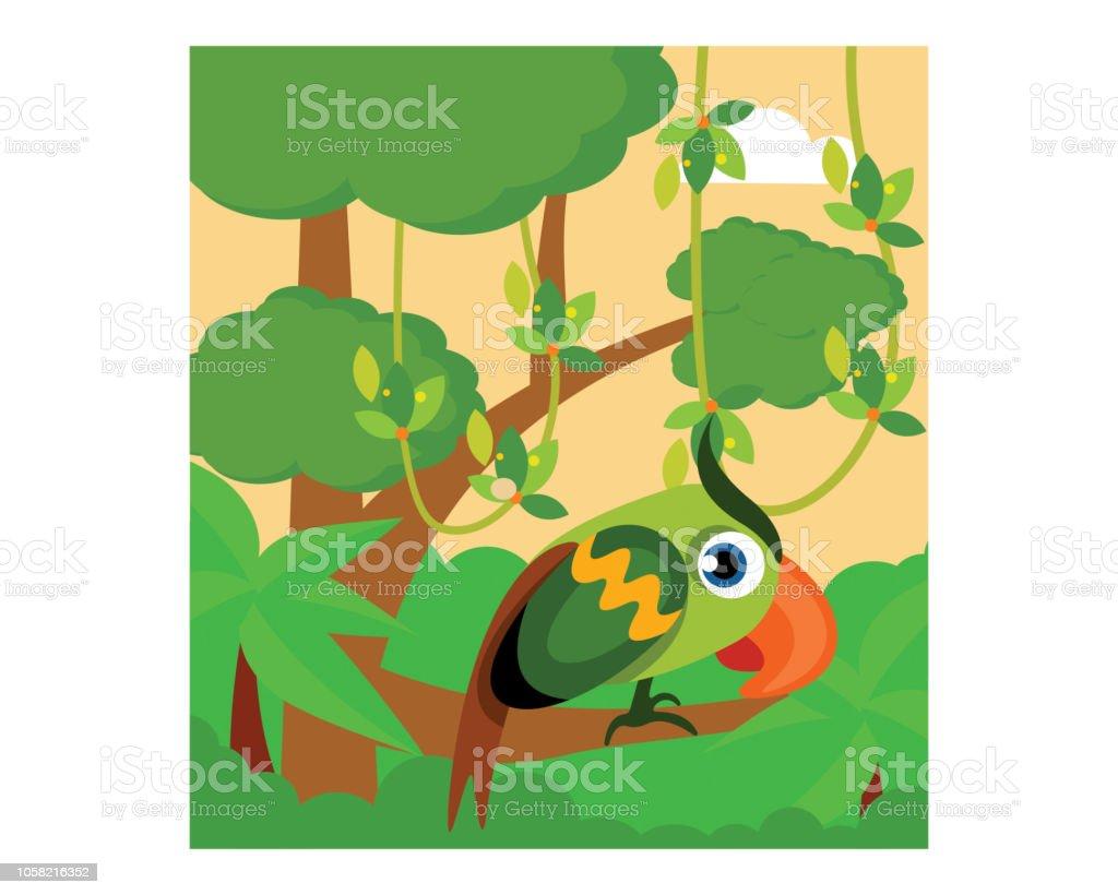Mignon Et Adorable Petit Oiseau Vert Perche Sur Une Branche Darbre
