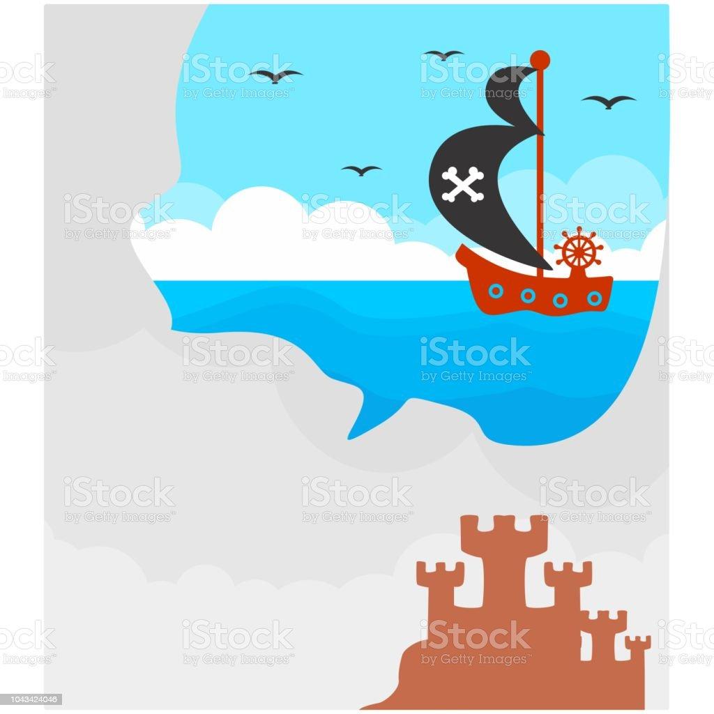 Ilustración De Lindo Y Adorable Sandcastle Y Vela Imaginario Barco