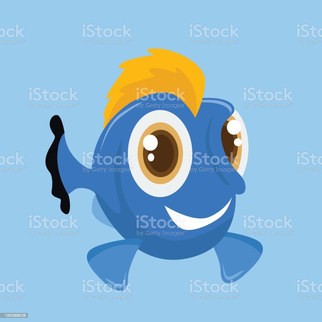 cute and cheerful ornamental sea fish, cartoon character vector art illustration