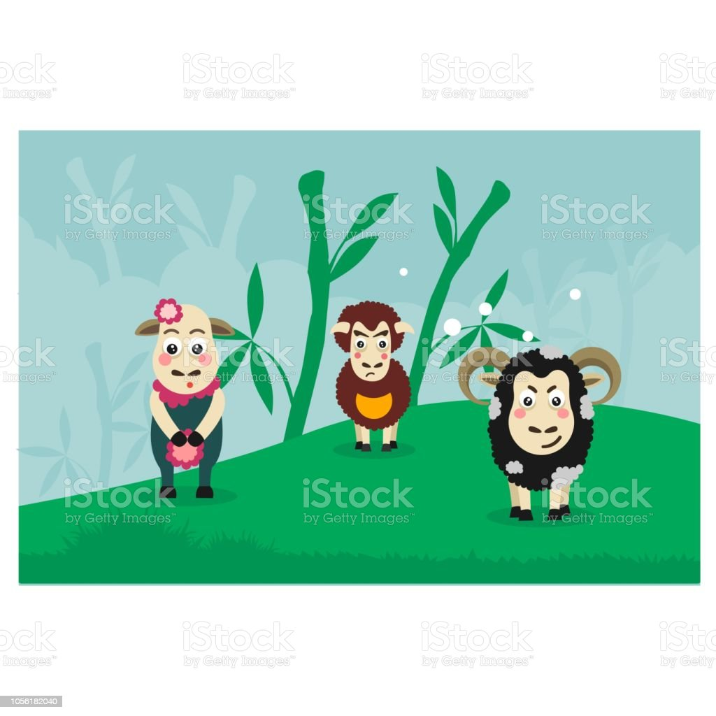Cute And Cheerful Sheep That Vary In Color Play Together The Colorplay Bamboo Forest Cartoon