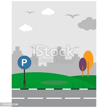 pictures of cute and beautiful natural scenery of road and green meadow near city building silhouette