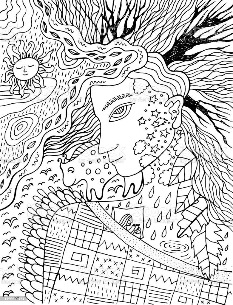 Kleurplaten Voor Volwassenen Herfst.Leuke En Gezellige Illustratie Met Herfst Geest