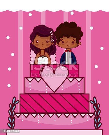 Cute And Delicious Wedding Cake Stock Vector Art & More Images of No People 964803900