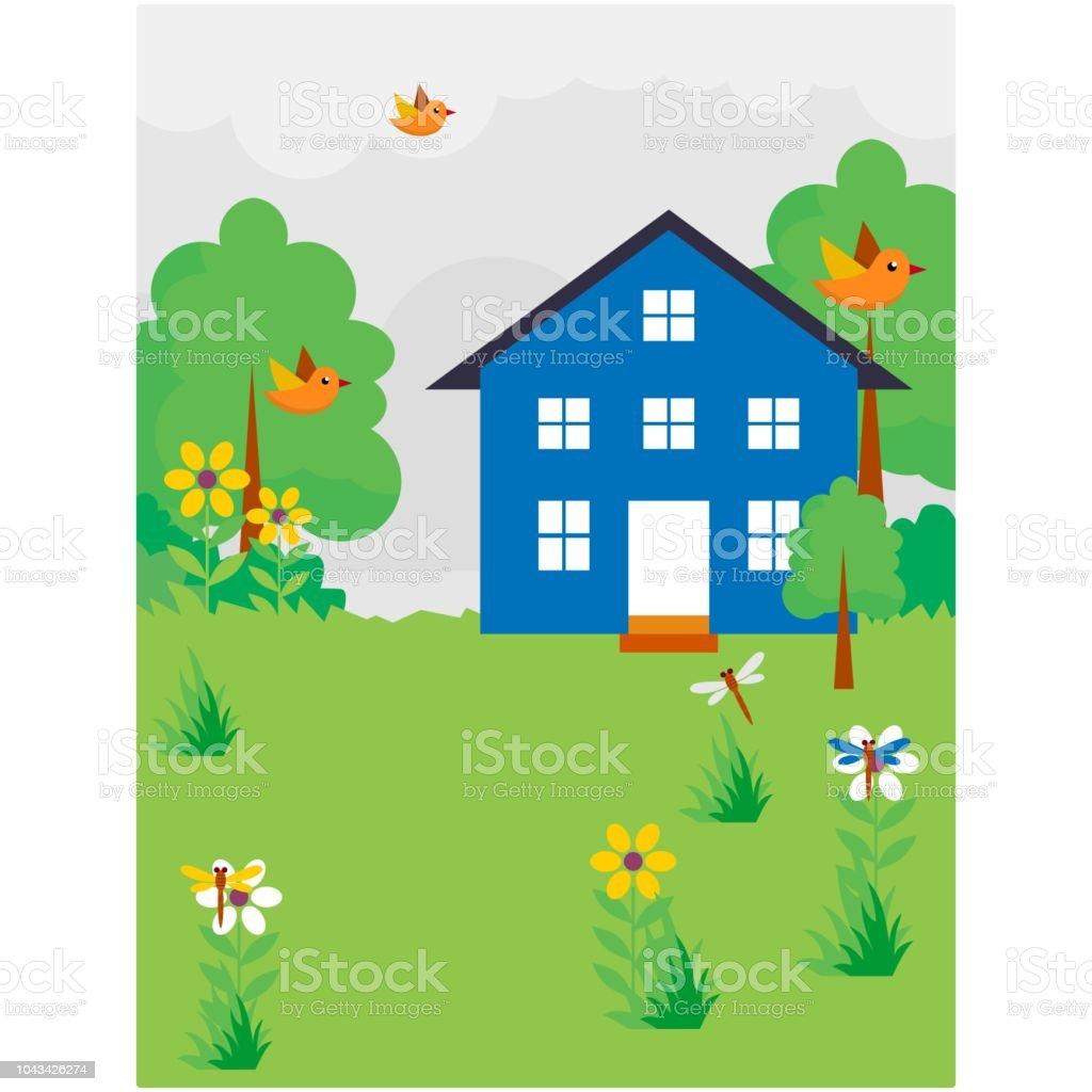 Mignon Et Beau Front Ou Maison De Jardin Bleu Avec Decor De Paysage