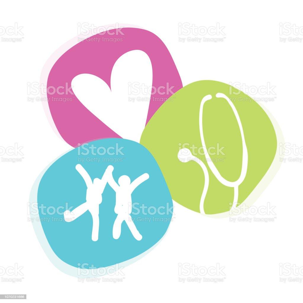 Symbole d'icône enfant mignon et amusant médecin pédiatre - Illustration vectorielle